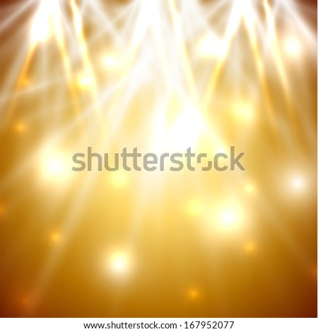Golden lights abstract background - raster version - stock photo