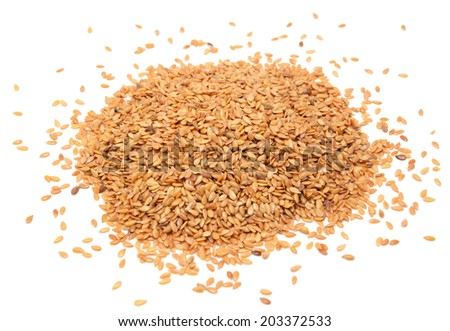 Golden linseed, isolated on a white background - stock photo