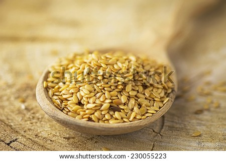 Golden linseeds in wooden spoon, macro shot, earthy tones - stock photo