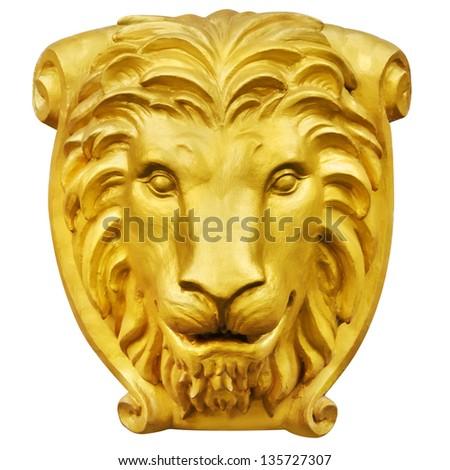 Golden lion statue - stock photo