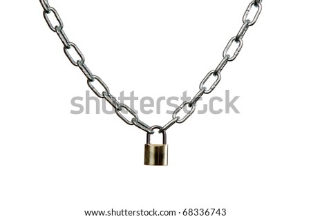 Golden lock is hanging on metal chain - stock photo