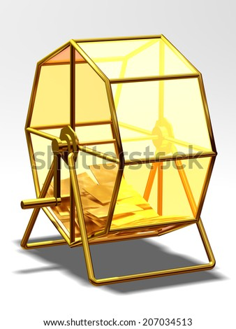 golden Lottery wheel with lots inside - stock photo
