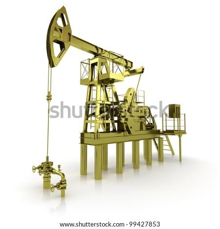 Golden Machine Oil Pump - stock photo