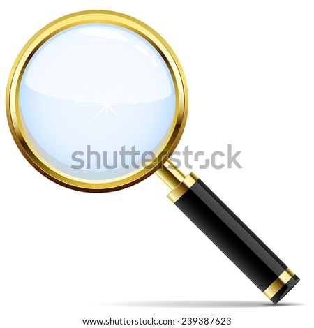 Golden magnifying glass icon isolated on white background. - stock photo