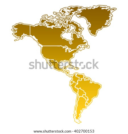 golden map of the american continent with white outline on white background with main internal borders - stock photo