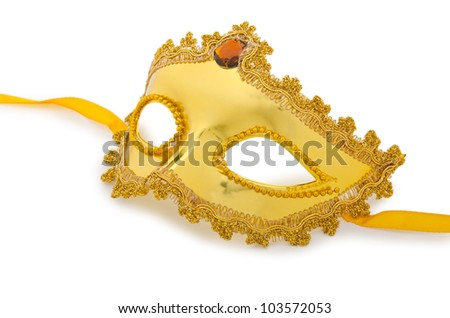 Golden mask isolated on the white - stock photo