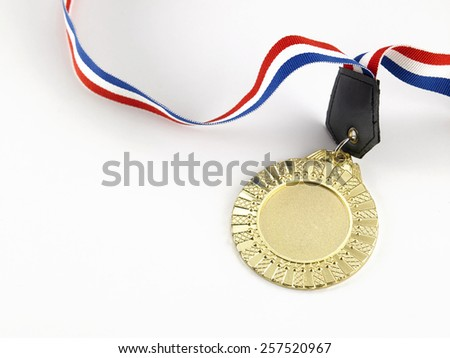 golden medal on the white background - stock photo