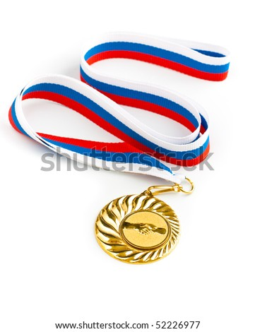 Golden medal with handshake symbol isolated - stock photo
