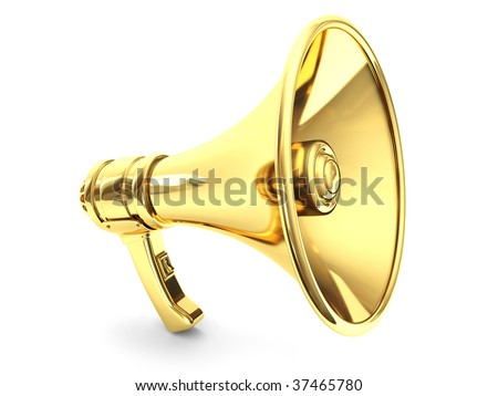 Golden Megaphone 3d render - stock photo