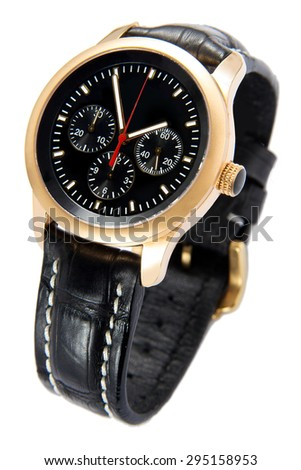 Golden Men luxury wrist watch with chronograh function isolated on white background - stock photo