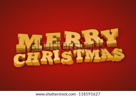 Golden Merry Christmas text on a red background (3d illustration) - stock photo