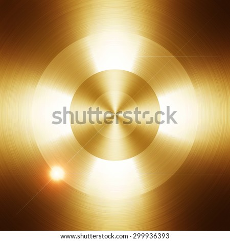 golden metal with round pattern - stock photo