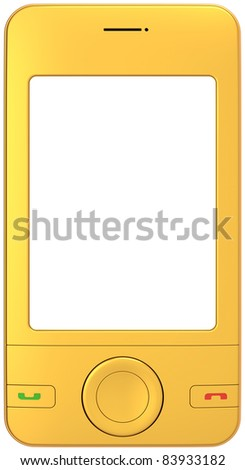 Golden mobile phone smart-phone generic with blank screen. Modern luxury cellphone communicator pda concept. Detailed 3d render. Isolated on white background. - stock photo