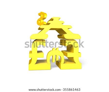 Golden money symbols house shape building, isolated on white background. - stock photo