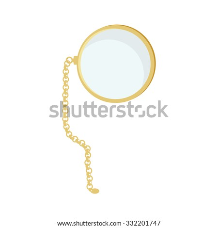 Golden monocle with chain raster isolated, hipster style, retro - stock photo