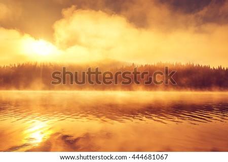 Golden morning fog on the lake, sunrise shot - stock photo