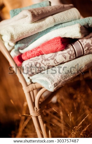 Golden morning   in autumn. Beautiful nature background with towel, towels on natural autumn background - stock photo