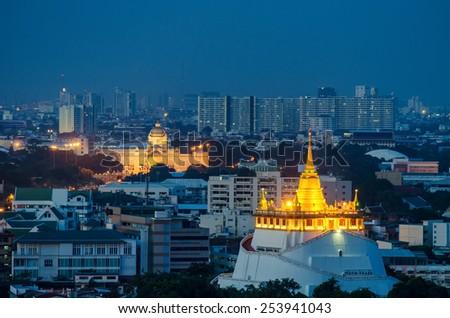 Golden mountain, an ancient pagoda at Wat Saket temple in Bangkok, Thailand - stock photo