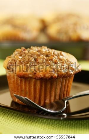 golden muffins - stock photo