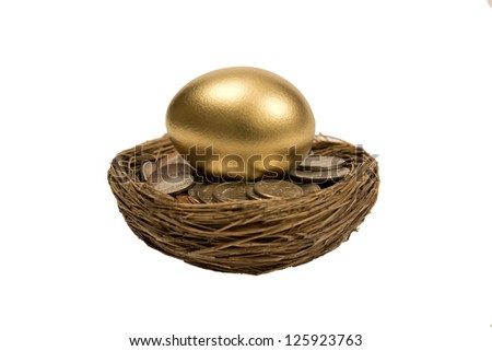Golden Nest Egg Laying On Coins Isolated On White - stock photo