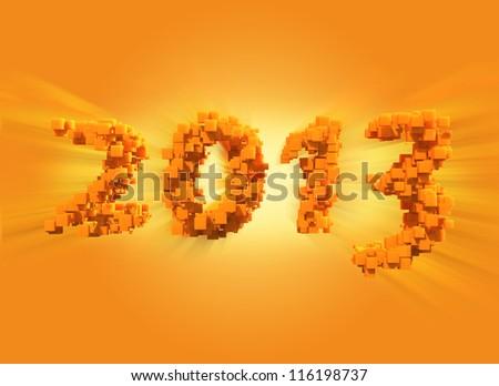 golden New Year 2013 - stock photo