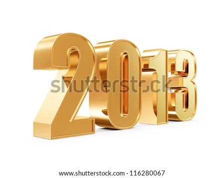Golden New Year 2013 isolated on white background - stock photo