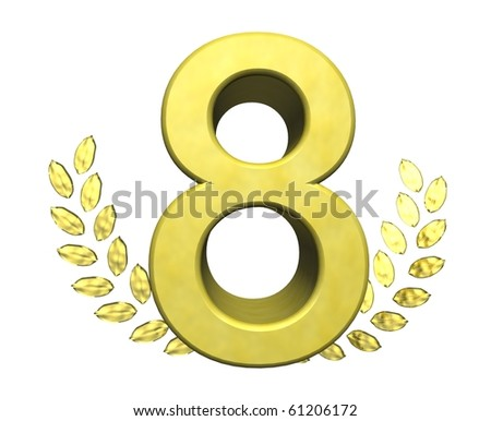 golden number eight - stock photo