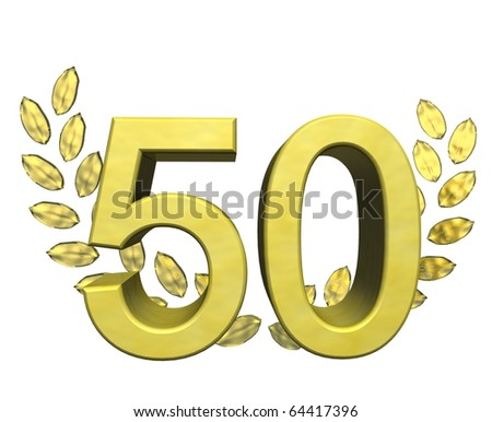 golden number fifty with laurel wreath - stock photo