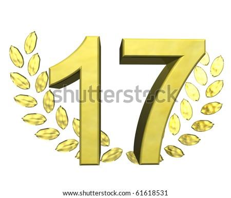 golden number seventeen - stock photo