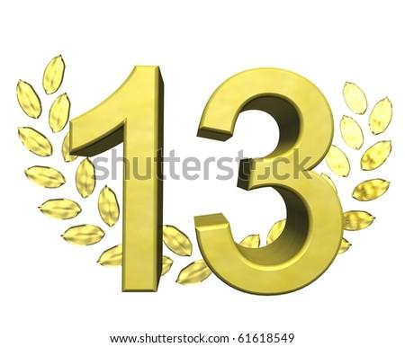 golden number thirteen - stock photo