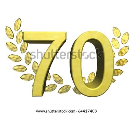 golden number 70 with laurel wreath - stock photo