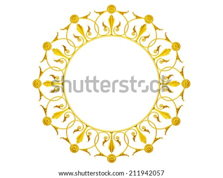 golden Ornament, Mandala Stye with center point in Gold - stock photo