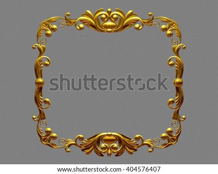 golden ornamental baroque frame. 3d illustration - stock photo