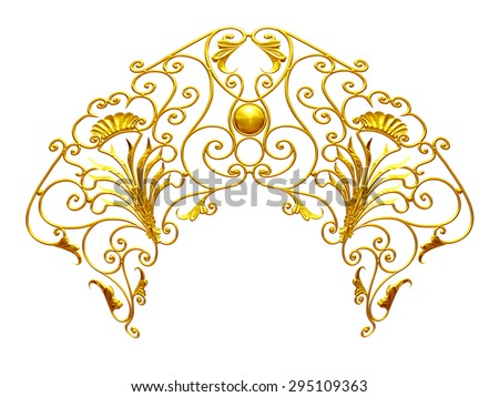 golden, ornamental Emblem - stock photo