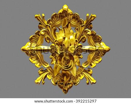 golden ornamental Emblem - stock photo