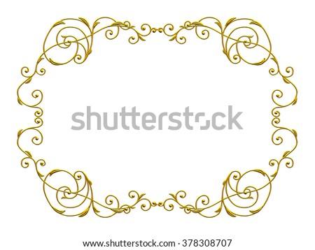 golden, ornamental Frame - stock photo