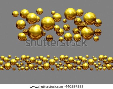 "golden, ornamental segment, ""bubbles"", straight version for frieze or border, 3d Illustration - stock photo"