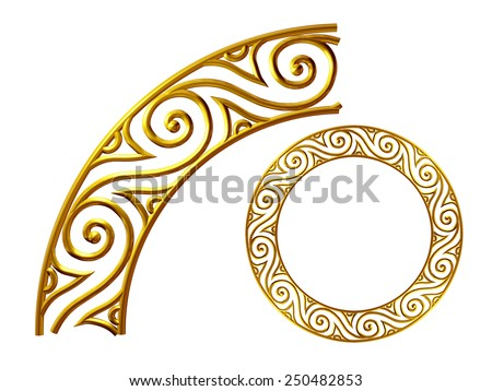 golden ornamental segment for a circle or a corner. This ninety degree angle complements my items for a frieze, border or frame. See Set: Decorative Ornaments, in my Portfolio: Ornament 62 - stock photo