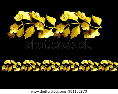 golden, ornamental segment for frame, frieze or border - stock photo