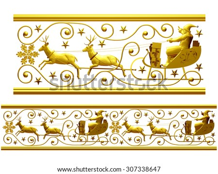 "golden ornamental segment, ""Santa Claus"", straight version for frieze, frame or border - stock photo"