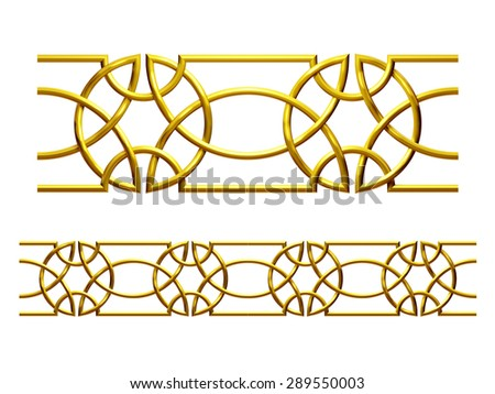 "golden ornamental segment, ""segovia"", straight version for frieze, frame or border - stock photo"