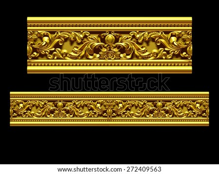 "golden ornamental segment, ""upside"", straight version for frieze, frame or border - stock photo"