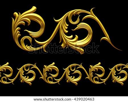 "golden, ornamental segment, "" whirl "", straight version for frieze or border. 3d illustration - stock photo"