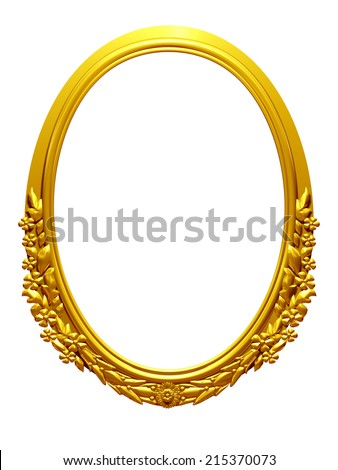 golden, oval frame with ornaments in gold for pictures or mirror - stock photo