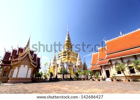 Golden pagoda at Wat Phra bath tak pha in lumpuan province, Thailand - stock photo