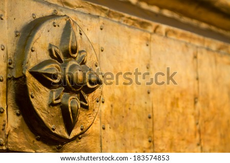 Golden pagoda on the Irrawaddy river in Bagan, Myanmar (Burma). Detail of the decoration. - stock photo
