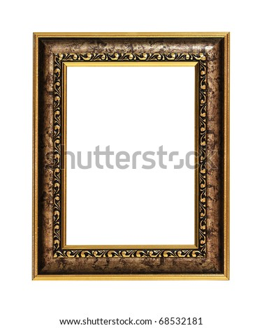 Golden painting frame with clipping path - stock photo