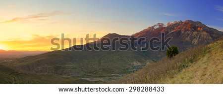 Golden panoramic spring sunset landscape, Utah, USA. - stock photo