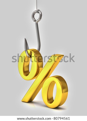 Golden percent sign on the hook - stock photo