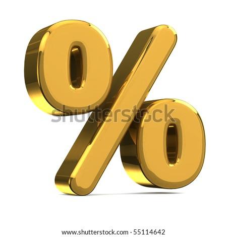golden percentage symbol - stock photo